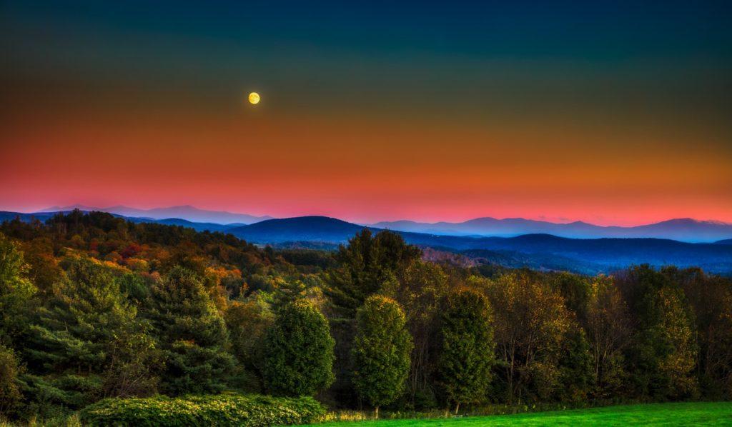 vermont, full moon, sunset